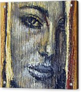 Mysterious Girl Face Portrait - Painting On The Wood Acrylic Print