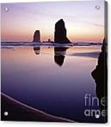 Needles Silhouetted Cannon Beach Oregon Acrylic Print