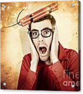 Nerd Business Man Shouting Out In Fear Of A Bomb Acrylic Print