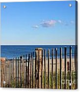 New England Beach Past A Fence Acrylic Print