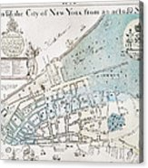 New York City Map, 1728 Acrylic Print