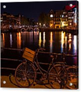 Night Lights On The Amsterdam Canals. Holland Acrylic Print