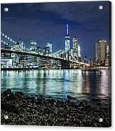 Night View To Manhattan Acrylic Print