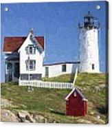 Nubble Lighthouse Maine Painterly Effect Acrylic Print
