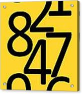 Numbers In Black And Yellow Acrylic Print