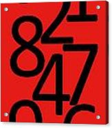 Numbers In Red And Black Acrylic Print