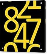 Numbers In Yellow And Black Acrylic Print