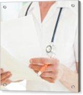 Nurse With Paperwork Acrylic Print