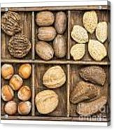 Nuts In Rustic Wooden Box Acrylic Print