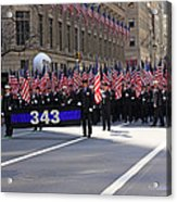 Nyc Fire Department Honoring The 343 Lost Comrades Of 911 With 343 American Flags Acrylic Print