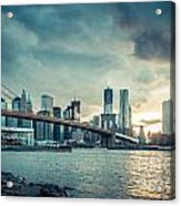 Nyc Skyline In The Sunset V1 Acrylic Print by Hannes Cmarits