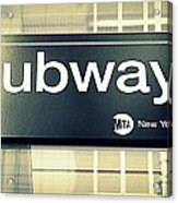 Nyc Subway Sign Acrylic Print