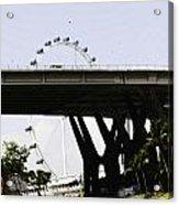 Oil Painting - Span Of The Benjamin Sheares Bridge With Its Pillars In Singapor Acrylic Print