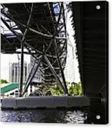 Oil Painting - View Under The Bayfront Bridge And Helix Bridge In Singapore Acrylic Print
