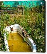 Old Bathtub Near Painted Barn Acrylic Print