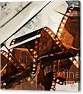 Old Film Strip And Photos Background Acrylic Print by Michal Bednarek