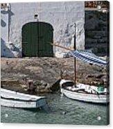 Typical Mediterranean Fishermen Boat And House In Minorca Island - Old Fishermen Villa Acrylic Print