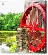 Old Grist Mill Vermont Red Water Wheel Acrylic Print