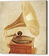 Old Vintage Gold Gramophone Photo. Classical Sound Acrylic Print