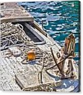 Old Wooden Fishing Boat Detail Acrylic Print