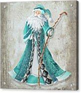 Old World Style Turquoise Aqua Teal Santa Claus Christmas Art By Megan Duncanson Acrylic Print