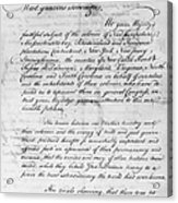 Olive Branch Petition, 1775 Acrylic Print
