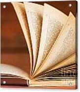 Open Book In Retro Style Acrylic Print by Michal Bednarek