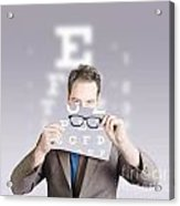 Optometrist Or Vision Doctor Holding Eye Glasses Acrylic Print