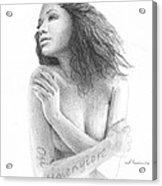 Osi Umenyiora Girlfriend Pencil Portrait Acrylic Print