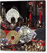 Outdoor Shop Sells Fake Chinese Antiques Acrylic Print by Yali Shi