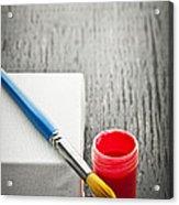 Paintbrush On Canvas Acrylic Print