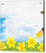 Painting Daffodils Acrylic Print