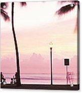 Palm Trees On The Beach, Waikiki Acrylic Print