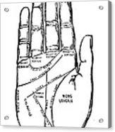Palmistry Chart, 1885 Acrylic Print