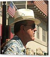 Parade Watcher Flag In Hat July 4th Prescott Arizona 2002 Acrylic Print