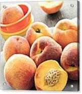 Peaches On Plate Acrylic Print by Elena Elisseeva