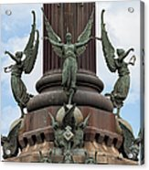 Pedestal Of Columbus Monument In Barcelona Acrylic Print