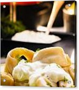 Pelmeni Dumplings With Fennel And Smetana Sour Cream Acrylic Print
