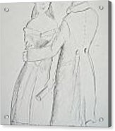 Pencil Sketch Of Couple In Love Acrylic Print