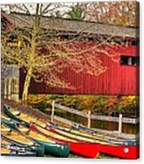 Pennsylvania Country Roads - Bowmansdale - Stoner Covered Bridge Over Yellow Breeches Creek - Autumn Acrylic Print
