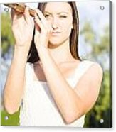 Person With Monocular Acrylic Print