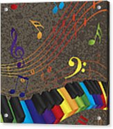 Piano Wavy Border With 3d Colorful Keys And Music Note Acrylic Print