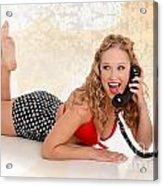 Pinup Girl On The Phone Acrylic Print