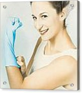 Pinup Housewife Flexing Muscles. Cleaning Strength Acrylic Print