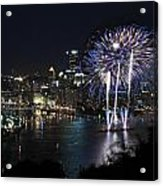 Pittsburgh Fireworks At Night Acrylic Print