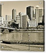 Pittsburgh In Sepia Acrylic Print