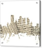 Pittsburgh Pennsylvania Skyline Sheet Music Cityscape Acrylic Print