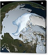Planet Earth Showing Sea Ice Coverage Acrylic Print