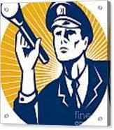 Policeman Security Guard With Flashlight Retro Acrylic Print