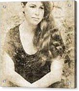 Portrait Of A Vintage Lady Acrylic Print